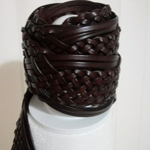 Brown Braided Leather Belt Wide Boho Style
